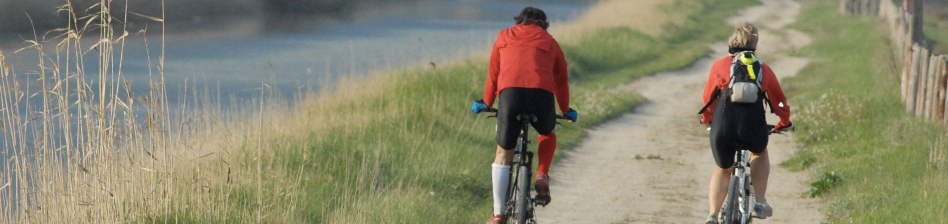 Cyclistes longeant le canal du midi